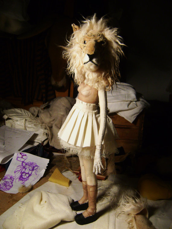 ValeriaDalmon on Etsy creates incredibly intricate and modern dolls to capture the imagination of doll lovers of all ages. This art doll has interchangeable animal heads; one is a lion, the other a rabbit. Read about ValeriaDalmon and other doll artists on differentdrumblog.com