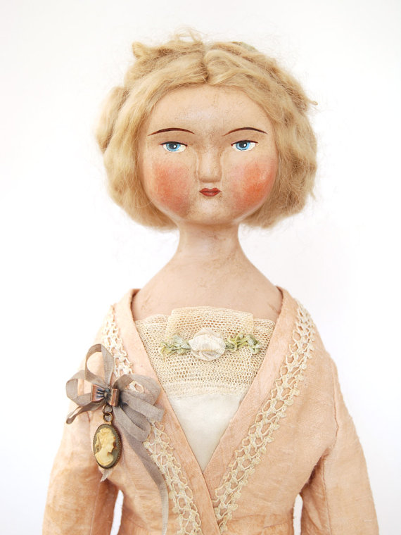 LoraSolingHandmade captures the romance of past centuries in her modern art dolls. They make one long to dive into that Jane Austen novel again. You can find her shop on Etsy.