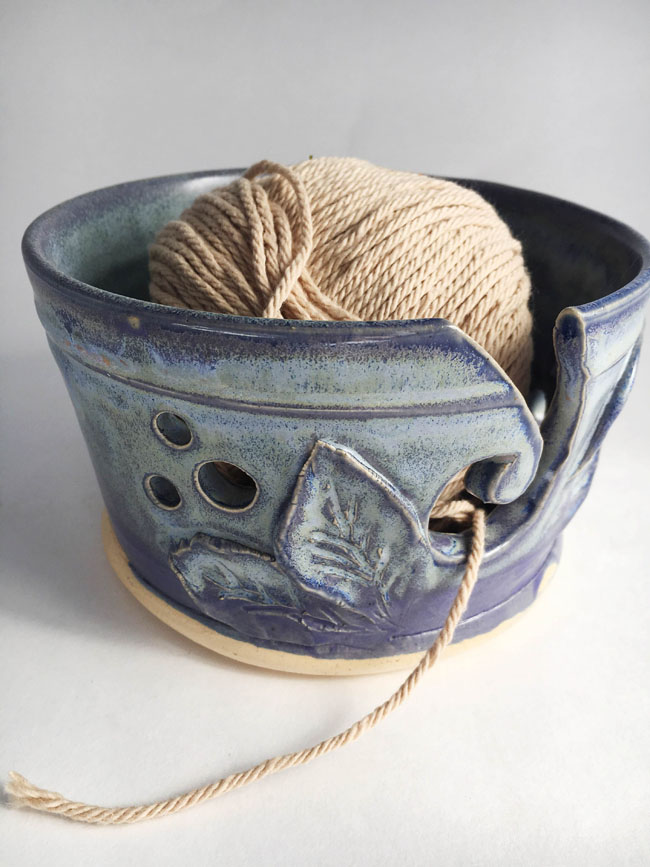 Handcrafted Pottery Yarn Bowl by Tara-Sinead at Pitch Pine Pottery. Read the Interview with Tara-Sinead at Different Drum. differentdrumblog.com