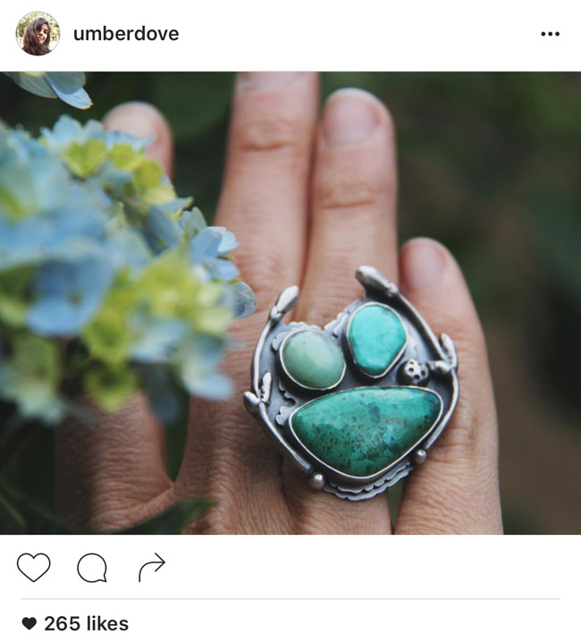 Fecundity Turquoise Ring and other sterling silver jewelry by Umberdove
