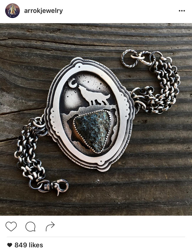Howling Wolf turquoise Bracelet and other sterling silver jewelry by Nicole of Arrok Jewelry.