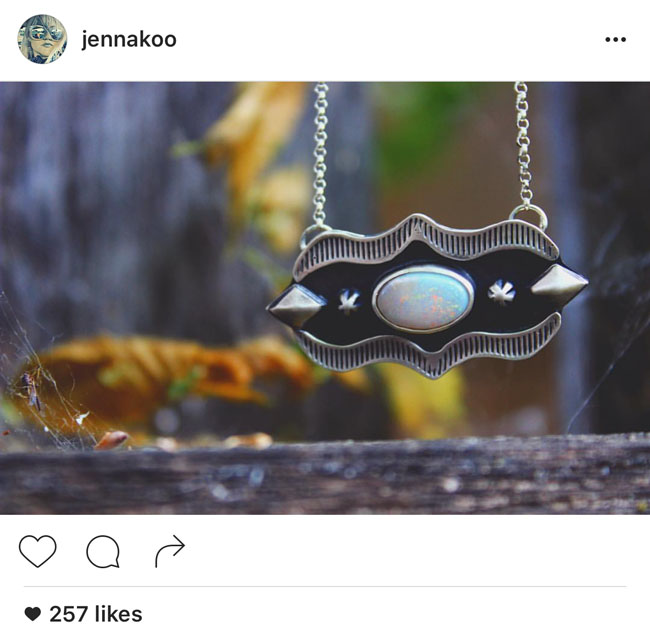 Opal and sterling silver necklace and other sterling silver jewelry by Jennakoo Jewelry.