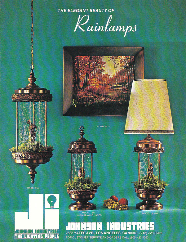 The front page of this Johnson Industries brochure shows vintage Rain Lamps in the swag light, table top, and shaded lamp styles.