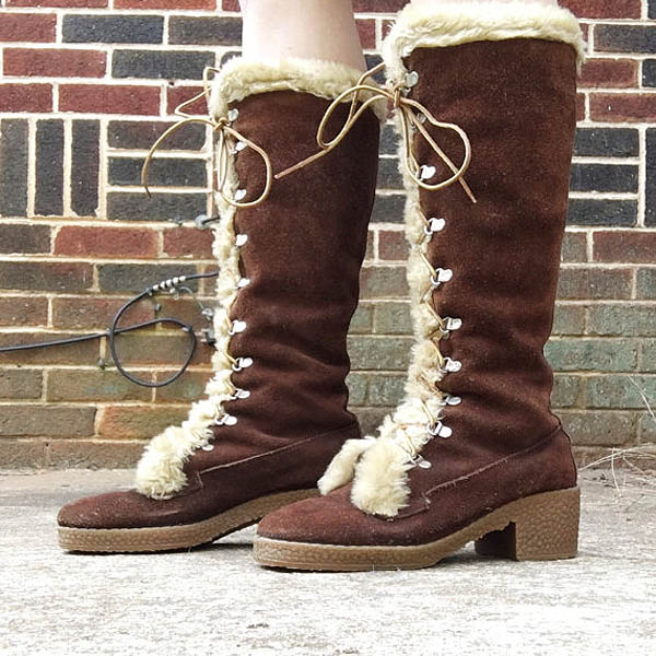 Vintage Suede Leather and Shearling Winter Boots by vernasvintageATL on Etsy.