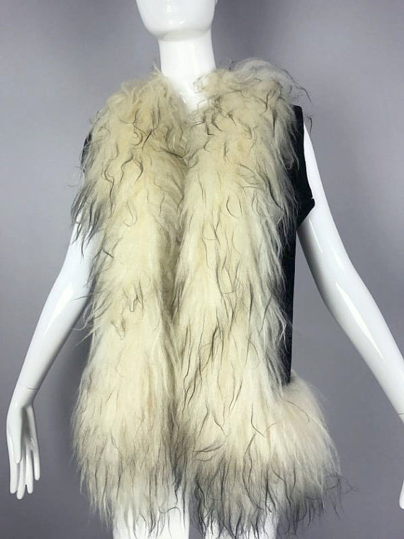 Vintage Shearling and Suede Leather Vest by MothFoodVintage on Etsy.