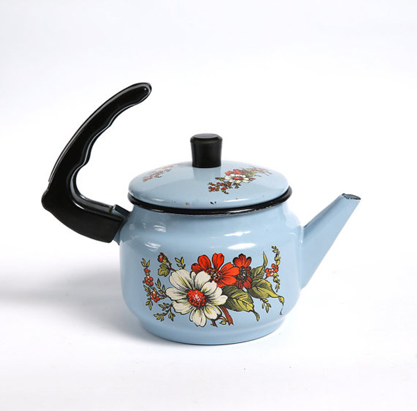 Vintage blue and red floral enamelware teapot by mmvintagestore on Etsy.