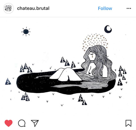 """Illustration of """"Hertha Lake,"""" a folktale from Northern Germany by artist @chateau.brutal"""