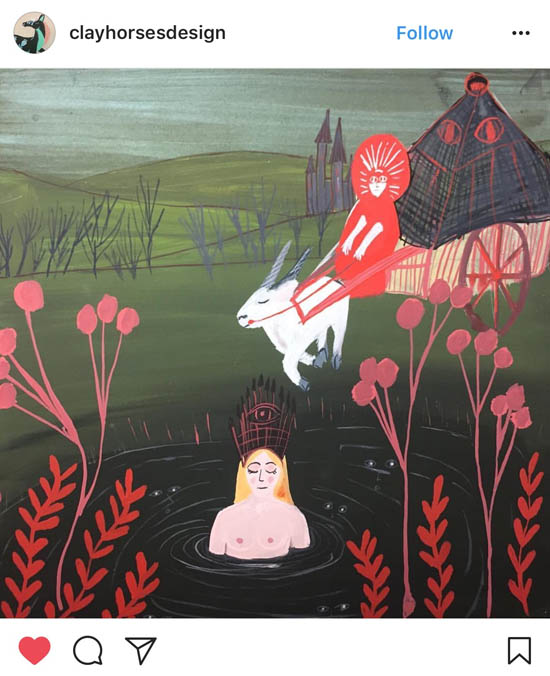 """Illustration of """"Hertha Lake,"""" a folktale from Northern Germany by artist @clayhorsesdesign"""