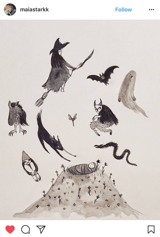 """Illustration of folktale """"When the Whole of England Was Overrun with Ghosts"""" by artist Maia Stark"""