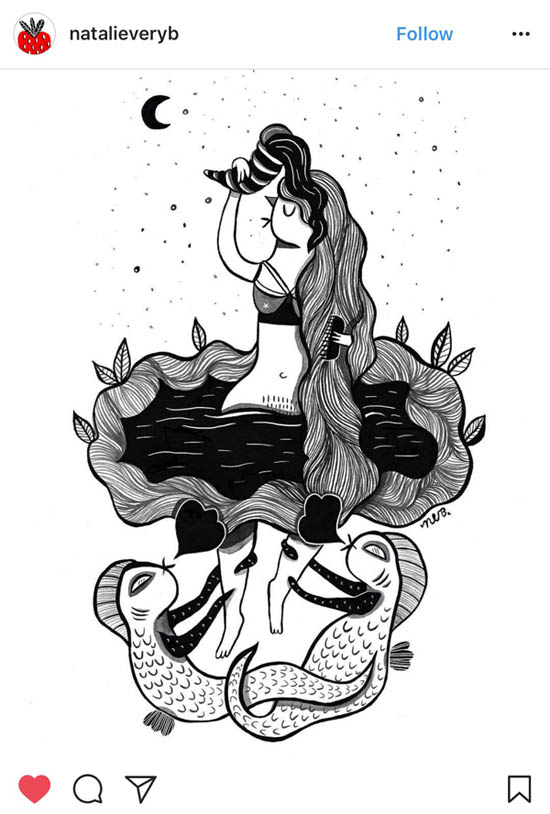 """Illustration of """"Hertha Lake,"""" a folktale from Northern Germany by artist Natalie Very B"""