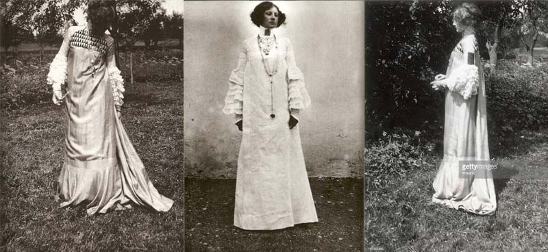 Emilie Flöge designed rational style dresses that did not require a corset. These dresses were known as reform dresses and were a reaction against the Victorian styles of the day.