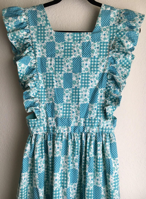 Vintage Apron with Hippie Boho Blue Patchwork Print (offered by AlohaGypsyVintage on Etsy)