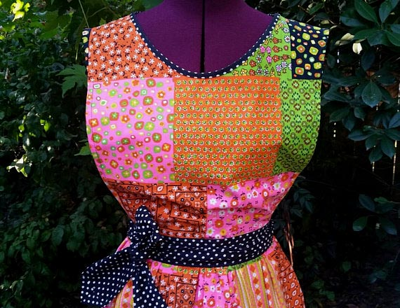 Boho Hippie Vintage Apron with Psychedelic Patchwork CalicoPrint (offered by FoxyFawnzy on Etsy)