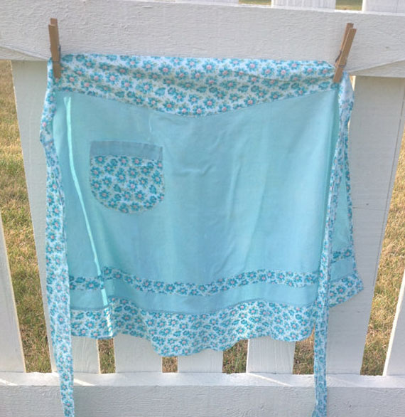 Turquoise Vintage Apron with ditsy floral print (offered by HeartlandWorkshop on Etsy)