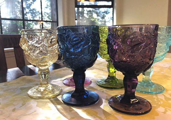 Blue, Purple, and Yellow Madonna Inn Rose Goblets.
