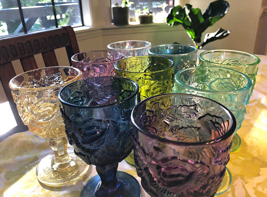 Just a small part of my Madonna Inn water goblet collection from the Madonna Inn in San Luis Obispo, California.
