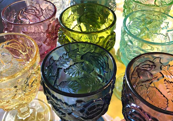 The brightly colored rose floral goblets of the Madonna Inn.