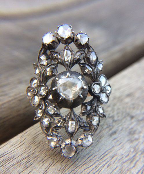 Antique Floral Georgian Diamond Ring offered by HouseHolbrook on Etsy
