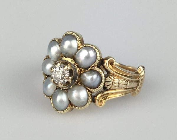 Late Georgian or Early Victorian Pearl & Diamond Ring offered by ParkAvenueAntiques0 on Etsy