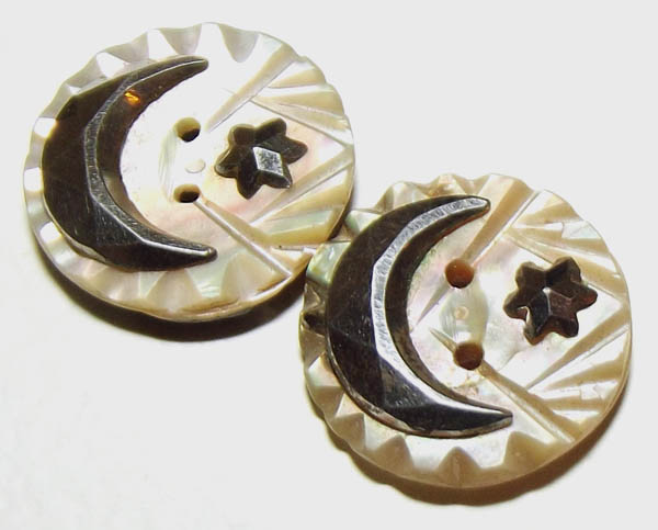 Carved Crescent Moon and Star Buttons offered by BlueTruckButtons on Etsy.