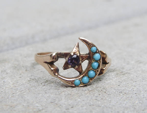 Turquoise and Amethyst Moon and Star Ring offered by TinysVintage on Etsy.