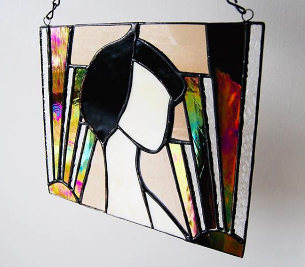 Flapper Lady Suncatcher by Stacie of Forest City Stained Glass