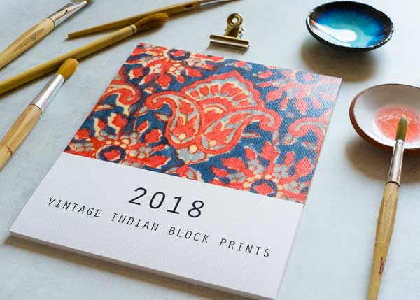 2018 Calendar featuring Vintage Indian Blockprint Patterns offered by VintageFables on Etsy.