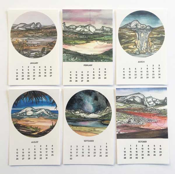 The Sleeping Giants Calendar by Louelle Design Studio features original artwork and letterpress text.