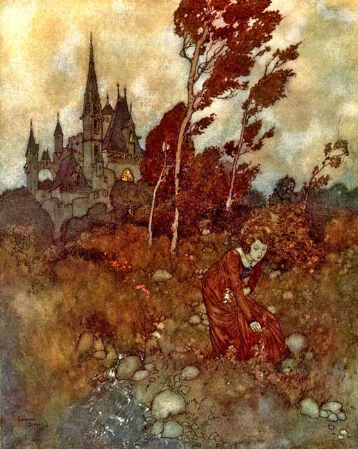 """""""She was always picking flowers and herbs,"""" illustration by Edmund Dulac for Hans Christian Andersen's 'The Wind's Tale.'"""