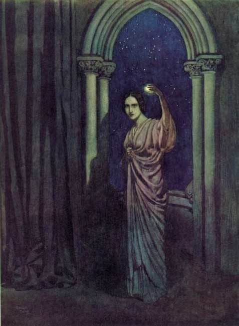"""""""How statue-like I see thee stand / The agate lamp within thy hand!"""" Illustration by Edmund Dulac for Edgar Allan Poe's 'To Helen.'"""