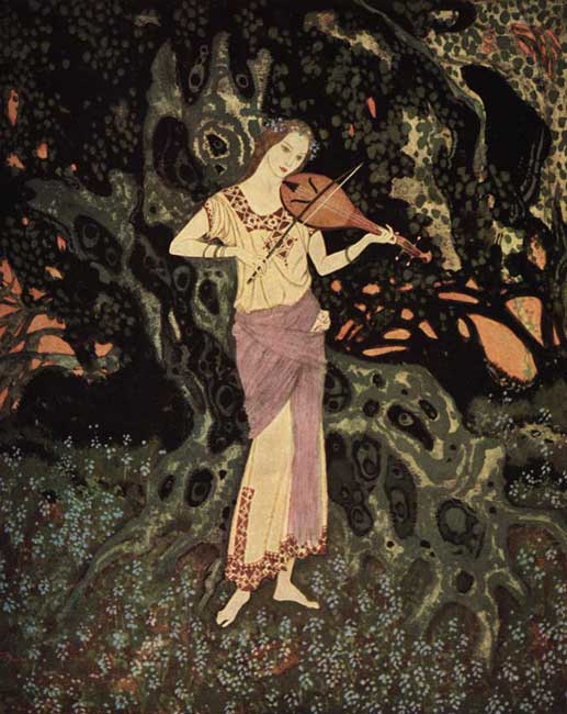 """""""And there, leaning against a moss-grown crumbling tree, was a spirit-like being out of another world!"""" illustration by Edmund Dulac for Marie Alexandra Victoria's 'The Dreamer of Dreams.'"""