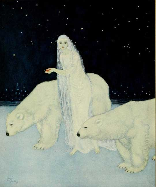 """""""Everything about her was white, glistening and shining,"""" illustration by Edmund Dulac for Marie Alexandra Victoria's 'The Dreamer of Dreams.'"""