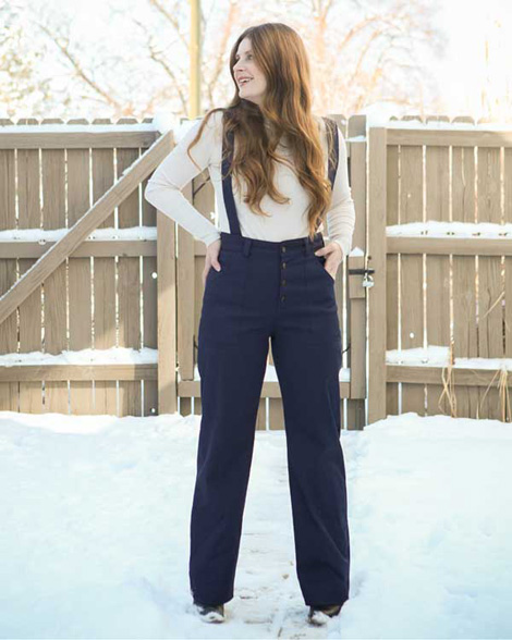 The Lander Pant with suspenders by Kelli Ward of True Bias. Read an interview with Kelli on differentdrum.blog.