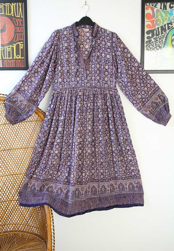 Vintage Indian hand block printed dress offered by Sapphireandsixpence on Etsy.