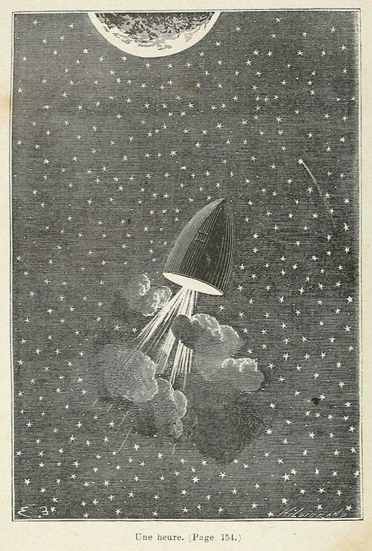 Jules Verne's From the Earth to the Moon.  Space art illustration by Émile-Antoine Bayard