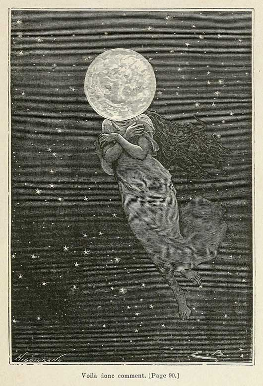 Moon Goddess.  Jules Verne's From the Earth to the Moon.  Space art illustration by Émile-Antoine Bayard
