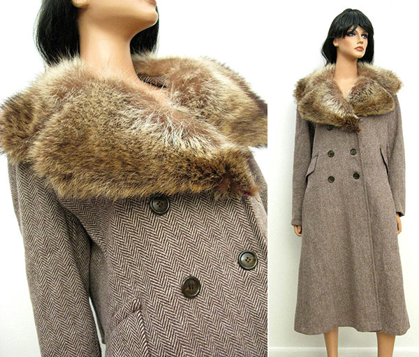Vintage wool and fur coat offered by HepCatClothes