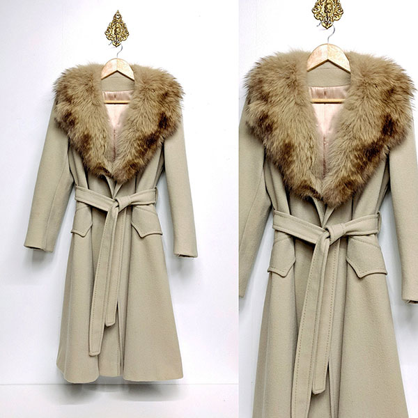 Vintage fur collar trench coat offered by HeyTigerVintageGoods
