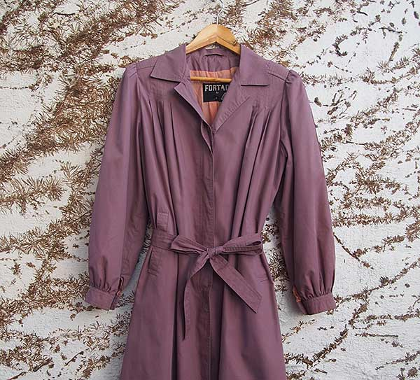 Vintage purple trench coat offered by onwardatrandom