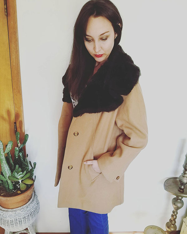 Vintage wool and faux fur coat by TickledVintageShop