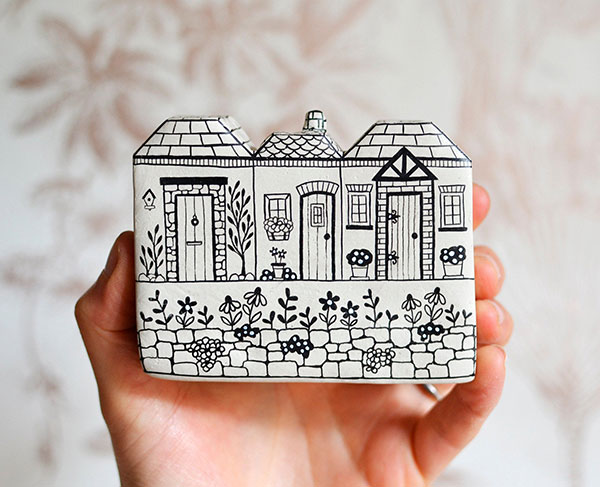 Hand Illustrated Row of Clay Houses offered by MaisieParkesDesign on Etsy