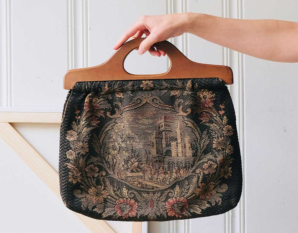 Vintage castle tapestry bag  with wood handles offered by DominoVtg on Etsy