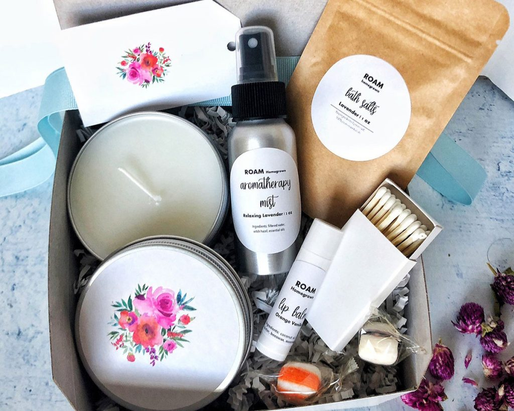 Spa gift box offered by RoamHomegrown on Etsy