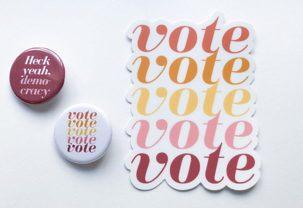 Voting Pins & Sticker Set offered by PleasantAvenue on Etsy