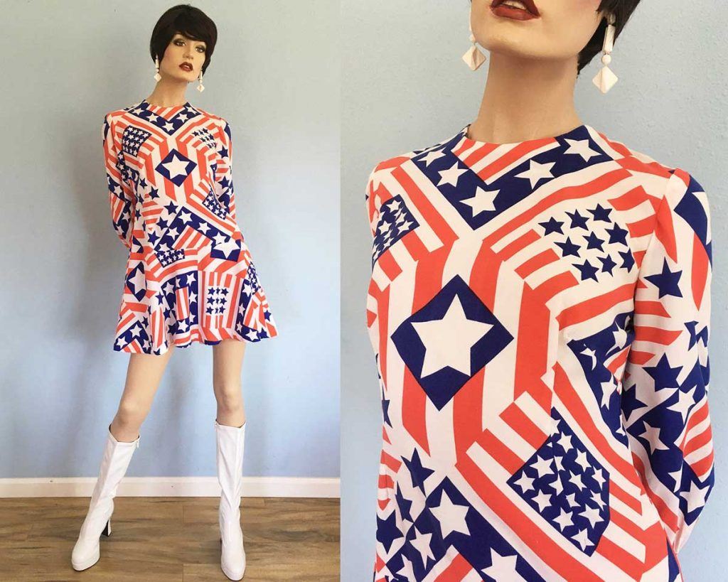 Red White and Blue Vintage Voting Dress offered by YachatsMysticVintage on Etsy
