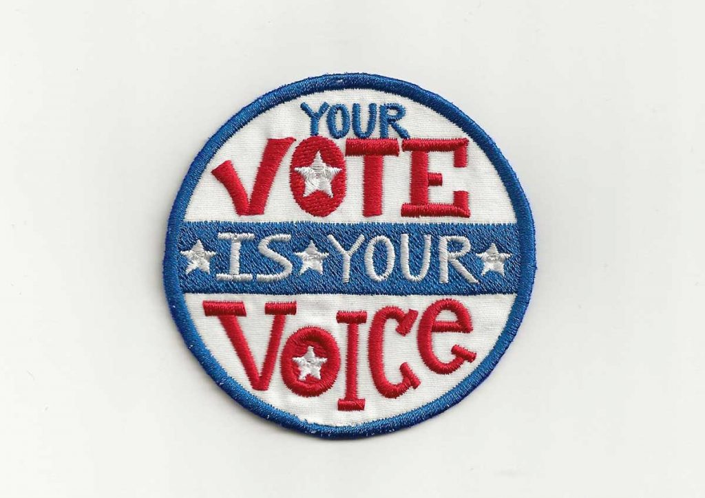 Your Vote is Your Voice patch offered by PatchNation on Etsy