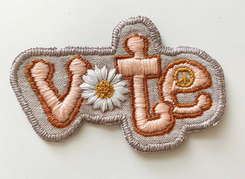 Hand-embroidered Vote Patch offered by MapleandOrangeStudio on Etsy