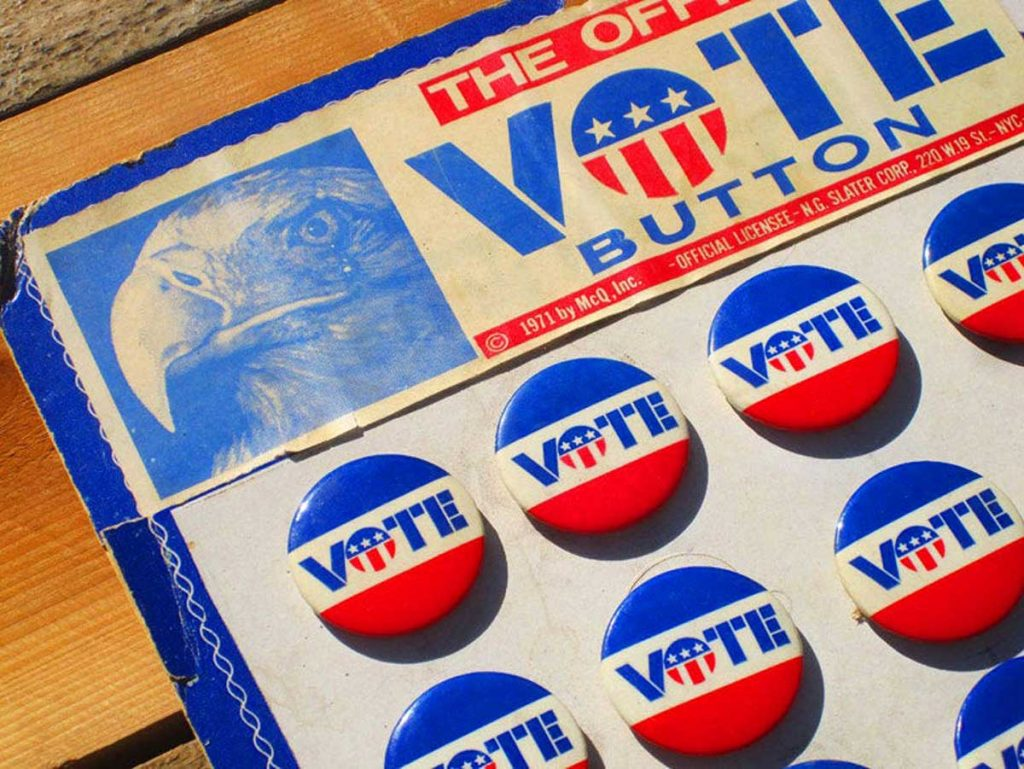 Vote Buttons offered by EpicElectric on Etsy
